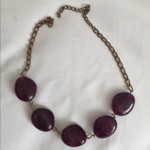 Adjustable gold and purple colored stone necklace